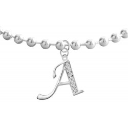 Silver Dangly Anklet with Initials CZ  Clear Crystals - Letters A to Z