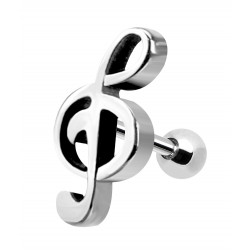 Surgical Steel Treble Clef Music Note Design Barbell Size 6MM