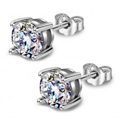 Silver Round Solitaire Stud Earrings - AAA+ CZ Crystals