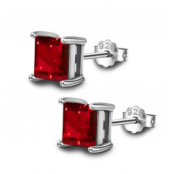 Silver Square Solitaire Stud Earrings - AAA+ CZ Crystals