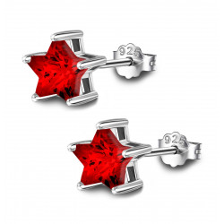 Silver Star Solitaire Stud Earrings - AAA+ CZ Crystals