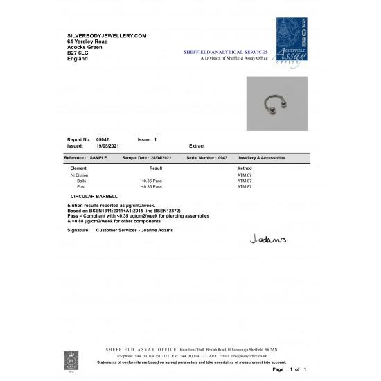 Titanium Implant Grade CIRCULAR BARBELL (CBB) - Internal Threading - Quality tested by Sheffield Assay Office England