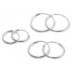Set of 4 Pairs Silver Endless Hoop Earrings size 8mm, 10mm, 12mm and 14mm