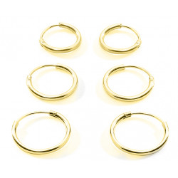 Silver Gold Plated Hoop Earrings size 8mm to 30mm - You get 3 pairs each size you choose