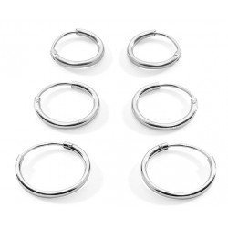 Silver Hoop Earrings size 8mm to 30mm - You get 3 pairs each size you choose