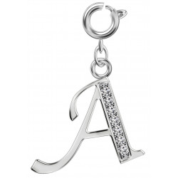 Silver Initials Charm with CZ  Crystals - Round Spring Clasp