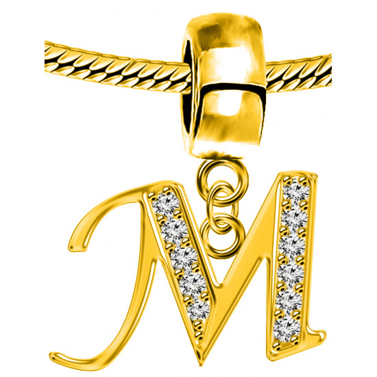 Silver Initials Gold Plated Charm - Fits all Pandora Bracelets - Letters A to Z