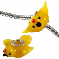 Murano Glass Flying Bird Bead Charms - Fits Pandora & Troll Bracelets - Various Colours