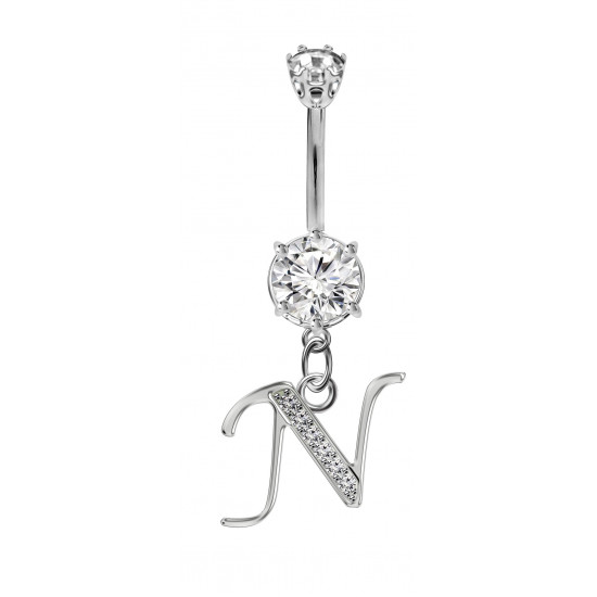 Sterling Silver Dangly Initials Belly Button Piercing Bars with CZ Crystals - Letters A to Z