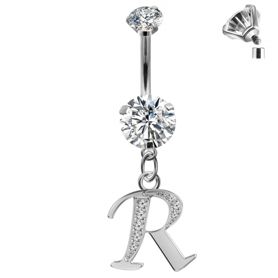 Initial Belly Button Rings - 316L Surgical Steel - Internally Threaded - 14G(1.6mm) - AAA+ CZ Crystals - Silver Letter A-Z Belly Button Rings - All our Jewellery is Quality Checked by Sheffield Assay office