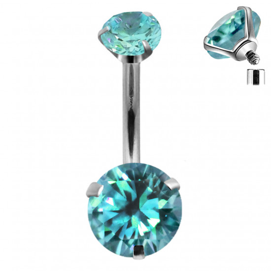 Titanium Implant Grade Internally Threaded Belly bar with Dual Round AAA+ CZ Crystal - Quality tested by Sheffield Assay Office England