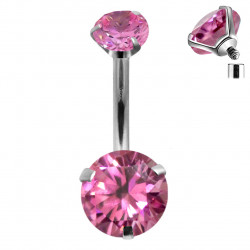 Surgical Steel 316L Internally Threaded Belly bar with Dual Round AAA+ CZ Crystal