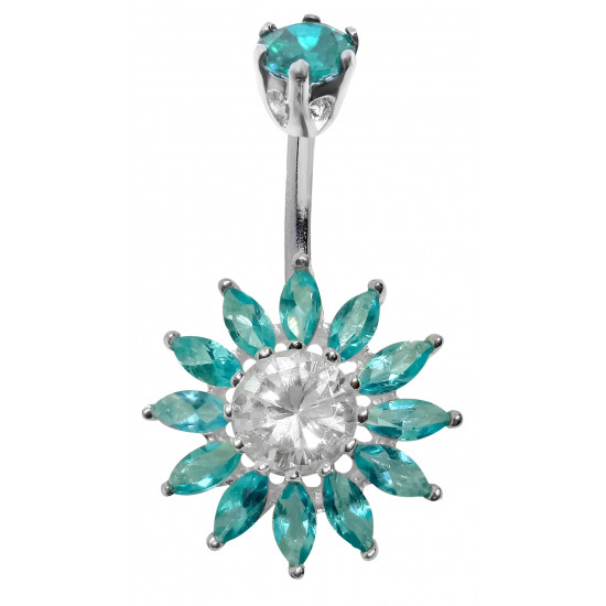 Sterling Silver Sun Flower CZ Crystal Belly Bars 1.6mm / 14G - Various Colours