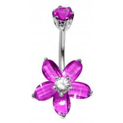 Silver & Stainless Steel Flower Belly Button Piercing Bar with CZ Crystals - Various Colours - All our Jewellery is Quality Checked by Sheffield Assay office