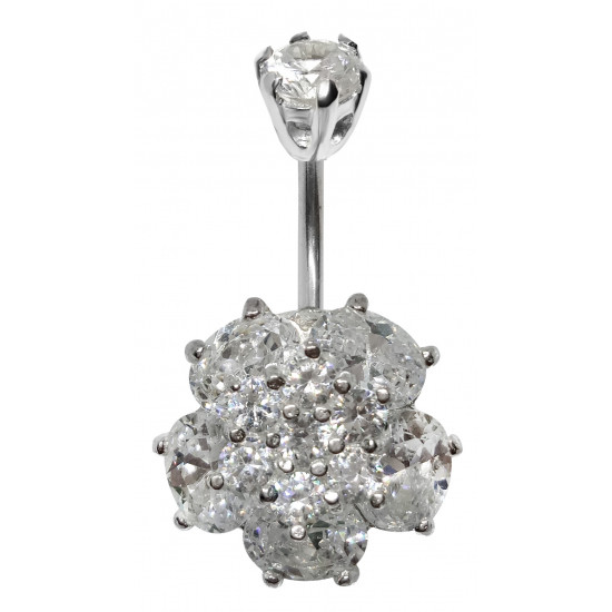 Sterling Silver Wild Flower CZ Crystal Belly Bars 1.6mm / 14G - Various Colours - All our Jewellery is Quality Checked by Sheffield Assay office