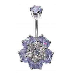 Sterling Silver Wild Flower CZ Crystal Belly Bars 1.6mm / 14G - Various Colours