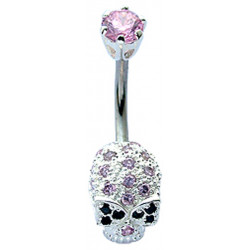 Sterling Silver Skull CZ Crystal Studded Belly Bars 1.6mm / 14G - Various Colours