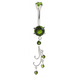 Sterling Silver Vine Drop Belly Bars with CZ Round Crystals - Various Colours