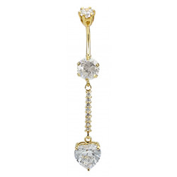 Sterling Silver Dangle Heart Shape Drop CZ Crystal in Gold Plating Belly Bars 1.6mm / 14G - Various Colours