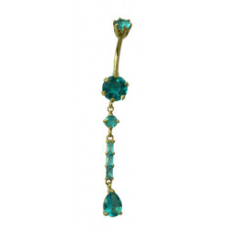 Gold Plated and Silver Long Drop Belly Bars with CZ Crystals - Various Colours