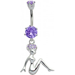 Sterling Silver Woman Sitting Belly Bars with CZ Crystals - Various Colours