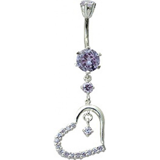 Silver Heart Dangle Belly Bars with CZ Crystal Stone - Various Colours