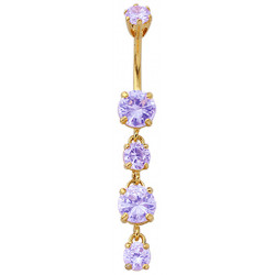 Silver Dangling Round Belly Bars with CZ Crystal - Gold Plated - Various Colours