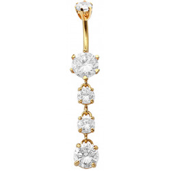 Sterling Silver Dangle Round Shape Drop CZ Crystal in Gold Plating Belly Bars 1.6mm / 14G - Various Colours