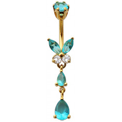 Sterling Silver Butterfly Drop Dangle CZ Crystal in Gold Plating Belly Bars 1.6mm / 14G - Various Colours