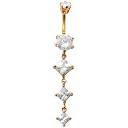 Sterling Silver Diamond Shape 3 Drop Dangle CZ Crystal in Gold Plating Belly Bars 1.6mm / 14G - Various Colours