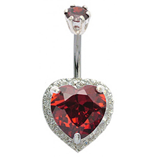 Sterling Silver Heart Belly Bars Surrounded with CZ Glass Stone Crystals - Various Colours - All our Jewellery is Quality Checked by Sheffield Assay office