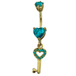 Sterling Silver and Gold Plated Key Bellybar - Surgical Steel 14G with CZ Crystals - Various Colours