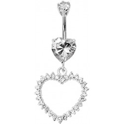 Sterling Silver Dangle Open Heart Belly Bar Studded with CZ Crystals - Various Colours - All our Jewellery is Quality Checked by Sheffield Assay office