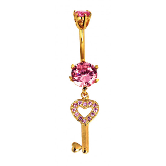 Beautiful Key Charm Belly Bars in Silver and Gold Plated with CZ Crystals - Various Colours