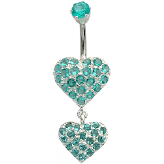 Double Heart Dangle Belly Bars Studded with CZ Crystals - Various Colours