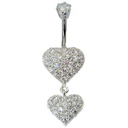 Double Heart Dangle Belly Bars Studded with CZ Crystals - Various Colours - All our Jewellery is Quality Checked by Sheffield Assay office