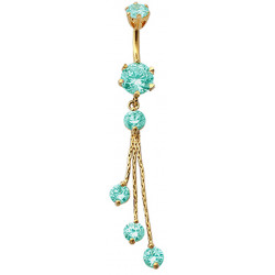 Sterling Silver Round Shape Dangle CZ Crystal in Gold Plating with Chains Belly Bars 1.6mm / 14G - Various Colours