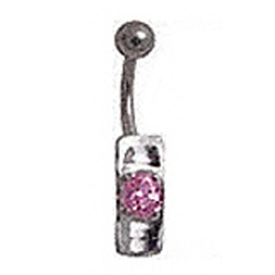Surgical Steel Belly Bars with Solitaire CZ Crystals - Various Colours