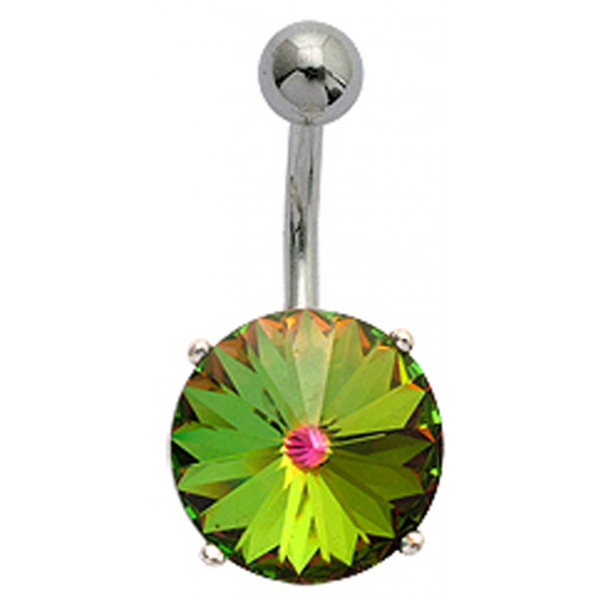 Surgical Steel Belly Bars with Solitaire Round Flower CZ Crystals - Various Colours