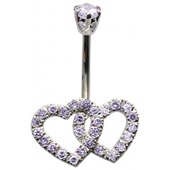 Sterling Silver Twin Heart Belly Bars Studded with CZ Crystals - Various Colours