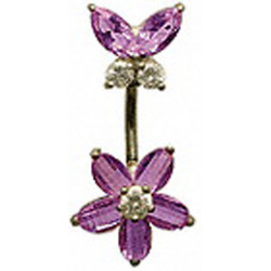 Combination Of Flower and Butterfly Belly Bars in Silver with CZ Crystals