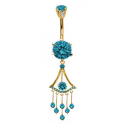 Gold Plated Dangle Round Belly Bars with Drop CZ Crystal - Various Colours