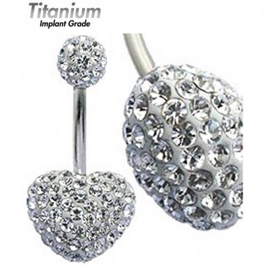 Titanium Implant Grade MULTI CRYSTAL HEART BELLY BAR - Swarovski Crysrals - Quality tested by Sheffield Assay Office England