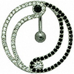 Sterling Silver Yin Yang Design CZ Crystal Studded and Reverse Lock Belly Bars 1.6mm / 14G