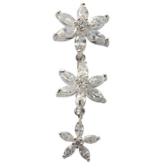 Triple Dangle Flower Belly Bars in Silver with Reverse  Lock and CZ Crystal - Various Colours