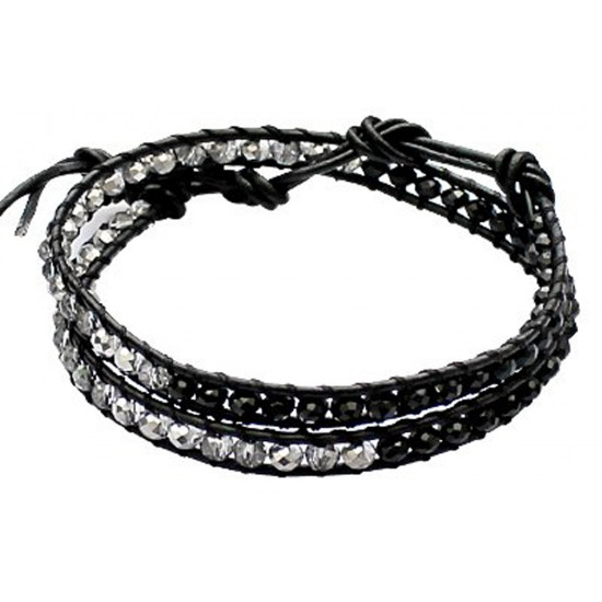 Colourful Handmade Fashion Strap Bracelets with 2 Layer Beads - Various Colours