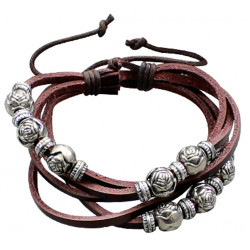 Multi-Strand Wrap Genuine Leather Bracelet with Rose Beads - Various Colours
