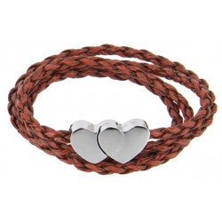 Multi-Strand Wrap Genuine Leather Couple Braided Bracelet with Heart - Various Colours