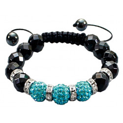 Shamballa Braided Bracelet with CZ Crystal Ball and Glass Beads - Various Colours