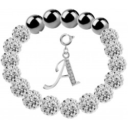 Shamballa Stretchable Bracelet CZ Crystal Studded with Silver Initial Charm Beads - Letters A To Z